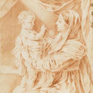 서 있는 아기 예수를 무릎 위에 올려놓은 성모