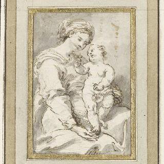 성모의 무릎 위에 서 있는 아기 예수
