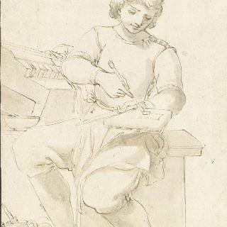 공예품을 장식하는 젊은 화가
