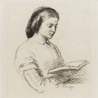 책을 읽는 여인의 상반신