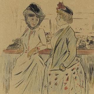 음악당의 산책로에 서 있는 두 명의 여인
