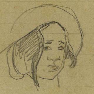 큰 모자를 쓴 타히티 소녀의 얼굴