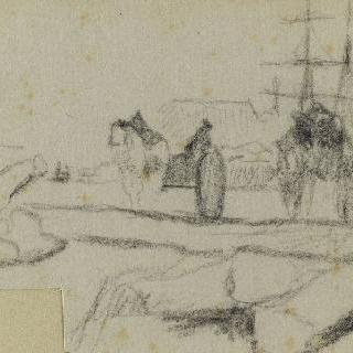 배, 두 마리의 말이 끄는 마차, 인물들과 나무가 있는 풍경