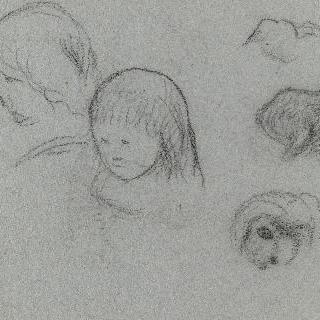 소녀의 얼굴의 두 개의 크로키 ; 동물들의 세 개의 크로키