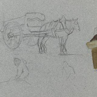 말이 끄는 짐수레와 바구니를 든 시골 아낙네