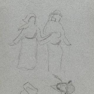 브르타뉴 농부 연인 ; 남자와 여자의 얼굴