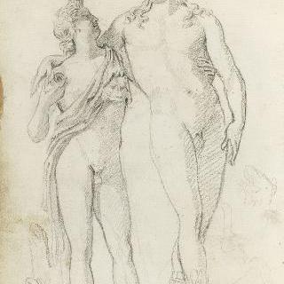 앨범 : 고대 작품을 모사한 습작 : 두 명의 벗은 남자