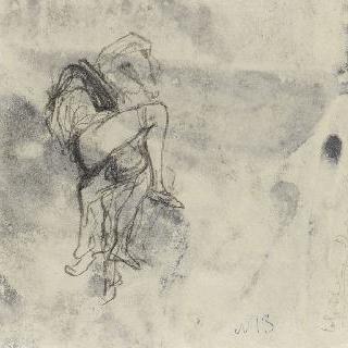 남자의 무릎 위에 앉은 여인의 습작