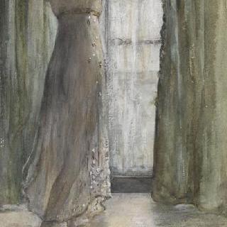 창문 앞에 서 있는 젊은 여인