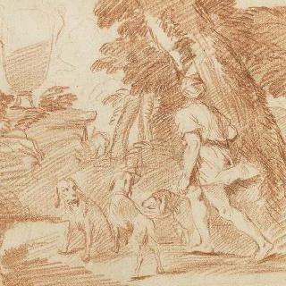 왼쪽으로 나아가는 한 남자와 세 마리의 개가 있는 풍경