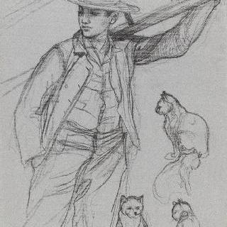 사다리를 든 젊은 남자와 고양이의 네 개의 크로키