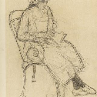 정원 소파에 앉아 책을 읽는 소녀