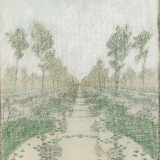 포플러나무들과 꽃이 핀 나무들