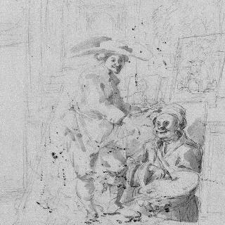화가의 초상을 가리키는 남자