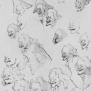 20개의 캐리커처 크로키, 얼굴과 상반신들