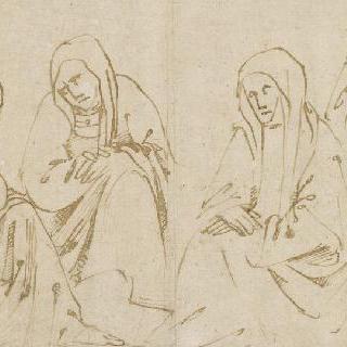 앉아 있는 성녀들과 서 있는 수도자