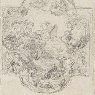 루브르의 아폴론 갤러리의 들라크루아가 그린 천장화를 모사한 복제화