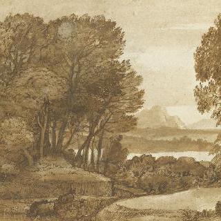 호숫가의 나무가 우거진 풍경