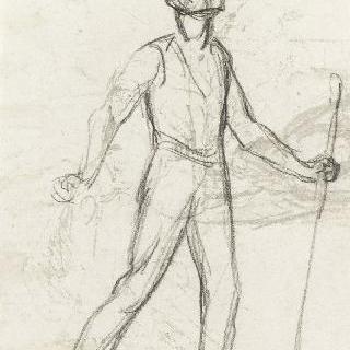 둥근 모자를 쓴 젊은 농부