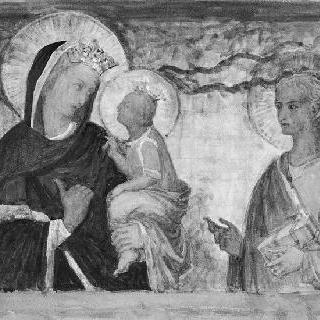 성모와 아기 예수, 그리고 한 성자