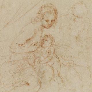 요셉 앞에서 아기 예수에게 수유하는 성모