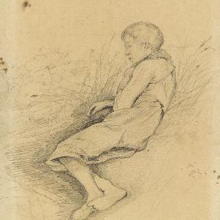 풀밭 위에 누운 소년