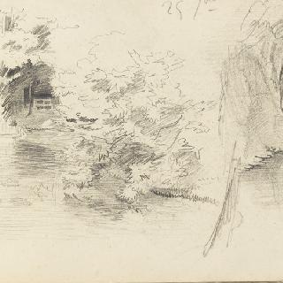 앨범 : 연못가에 나무들이 있는 풍경의 두 개의 습작