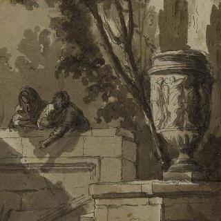 공원의 전경, 돌 계단, 꽃병