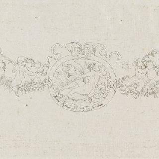 리본과 꽃으로 연결된 세 개의 원형 장식