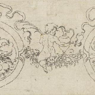 두 개의 원형 장식이 있는 장식물