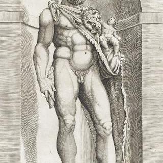헤라클레스 모습을 한 코모드 황제의 고대 동상