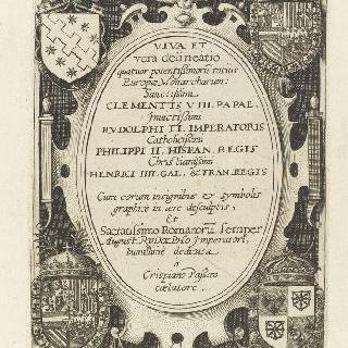 각이 있는 4개의 문장이 있는 타원형 틀에 표시된 라틴 책의 제목