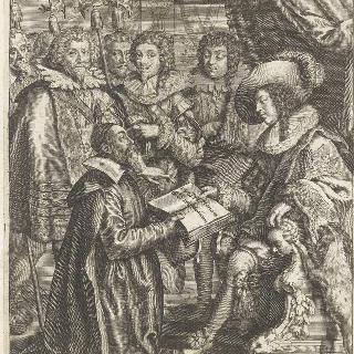책을 들고 왕좌에 앉은 루이 13세