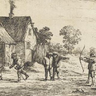 왕당파 사람에게 활을 쏘는 농부들