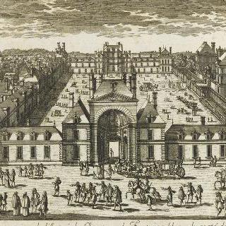 퐁텐블로 성 입구의 원근감이 있는 전경