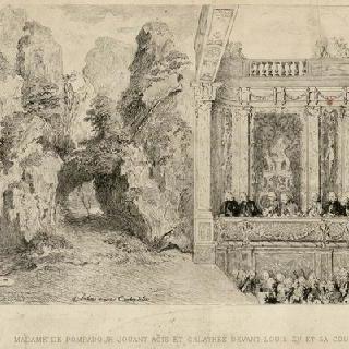 루이 15세와 궁정 사람들 앞에서 아키스와 갈라테이아를 연기하는 퐁파두르 부인