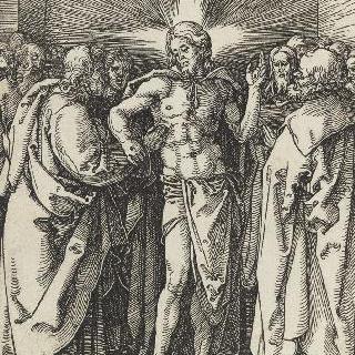 제본에서 나온 판화 : 성 토마의 불신