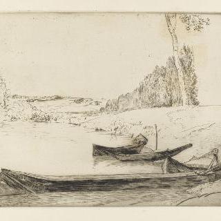 호숫가의 작은 배