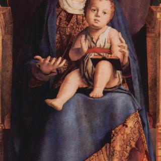 왕좌에 앉아 있는 성모, 베네치아 산 카시아노 교회 제단화의 일부 조각