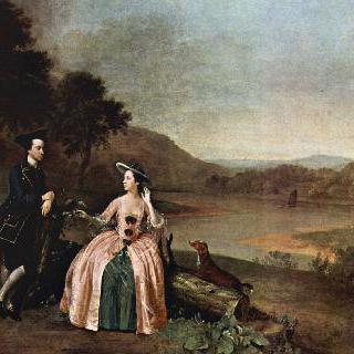 보인턴 홀의 정원에 있는 서 조지와 레이디 스트릭랜드의 초상