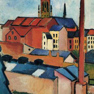 집들 및 굴뚝과 함께 보이는 성모교회 (본)