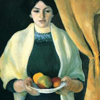 사과를 들고 있는 초상 (화가 아내의 초상)