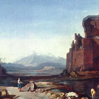 아우렐리아누스 방벽이 있는 이탈리아 풍경