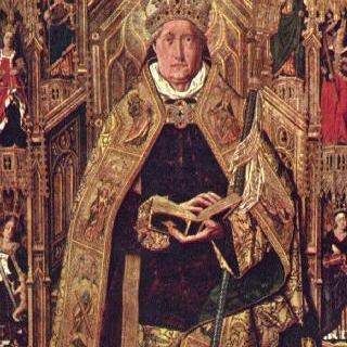 왕좌에 앉아 있는 실로스의 성 도미니쿠스와 7가지 기본 덕목
