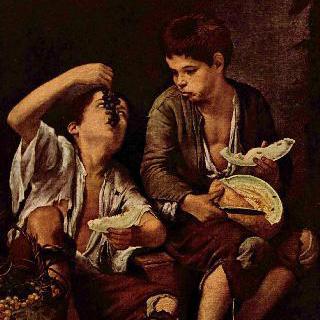포도와 멜론을 먹고 있는 아이들