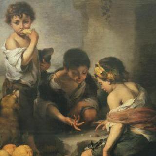 주사위 놀이를 하는 아이들