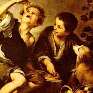 파이를 먹고 있는 아이들