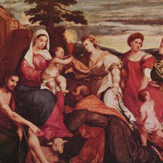 향주삼덕 (向主三德 : 믿음, 소망, 사랑)과 함께 있는 마리아