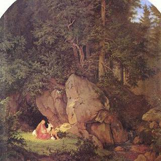 숲 속 정적 속의 게노페파