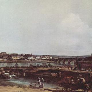 엘베 강 좌측 연안에서 본 드레스덴 풍경, 졸 방벽과 아우구스투스 다리 및 호프 교회